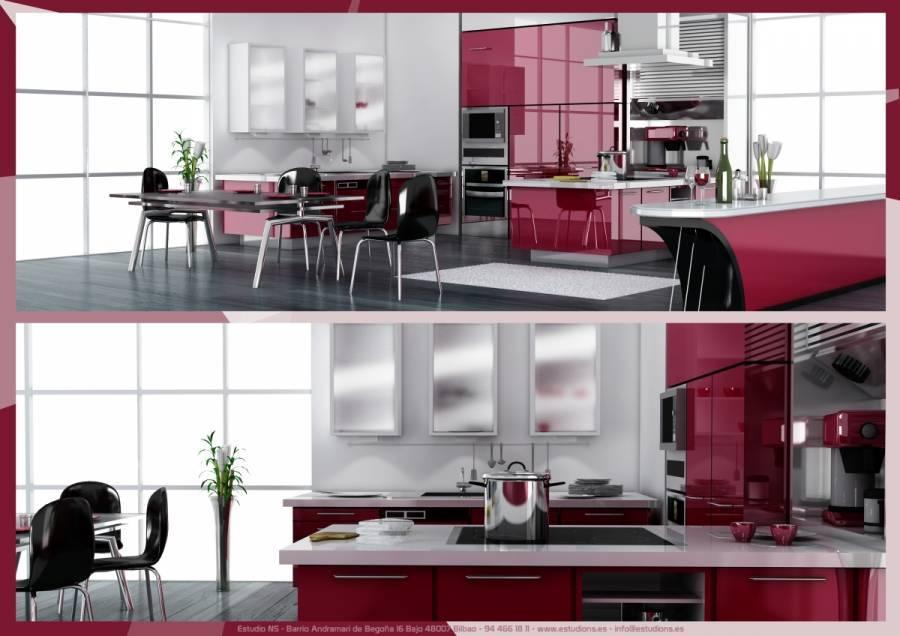 Diseño de cocina creado en 3D Studio Max. ¡Me encanta el color!
