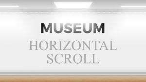 Presentación de museo con obras y scroll horizontal